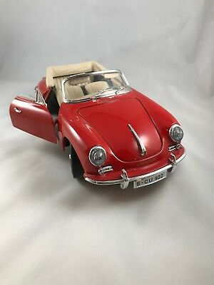 1961 Porsche 356B Convertible Red 1/18 Diecast Model Car By Bburago 356 B