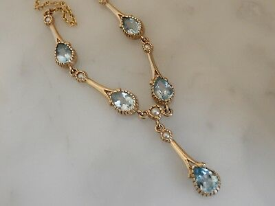 A Stunning 9 Ct Gold Aquamarine And Seed Pearl Negligee Necklace