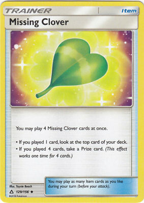 4x Pokemon TCG Ultra Prism Missing Clover 129/156 Uncommon Trainer Card