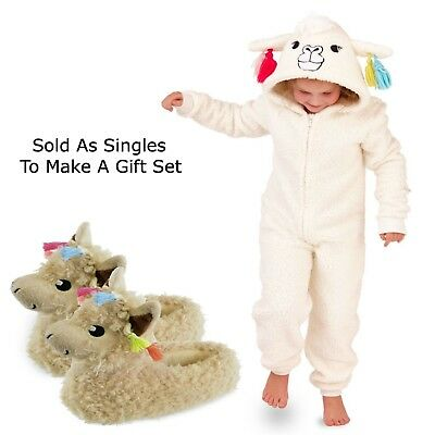 Girls 1Onesie All In One Llama Hooded Matching Slippers Loungewear Gift Set