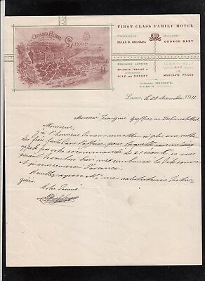 Egypt  1911 Letter From Grand Hotel Tewfikieh In Luxor Signed By The Owner (2)