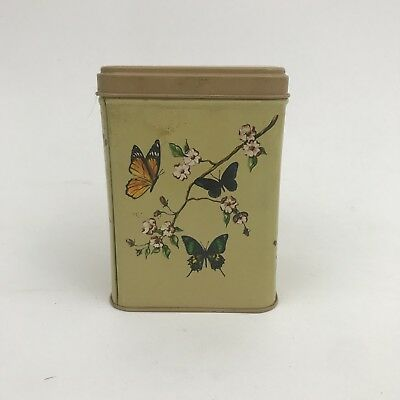 J L Clark Antique Canister Tin Butterflies Vintage Container VTG Collectible USA