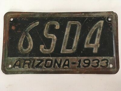 1933 Arizona License Plate Solid Copper All Original ABSOLUTELY NO METAL CRACKS!