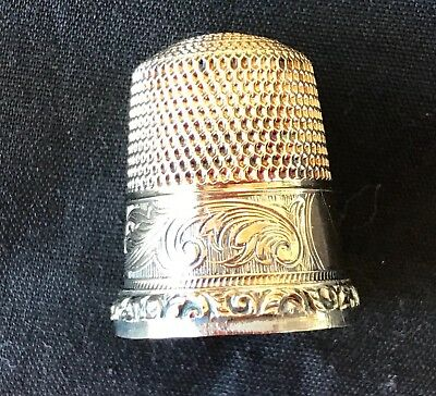Vintage Simons Brothers 14K And Sterling Thimble Size 10