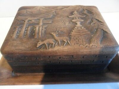 Beautiful Antique / Vintage Oriental Hand Carved  Wooden Box Signed