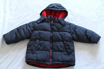 Boys Warm Navy Blue Coat Jacket Cherokee 12-18 months fleece lining with hood
