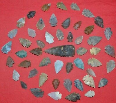"50 PC Flint Arrowhead Ohio Collection Points 1-3"" Spear Bow Stone Hunting Blade"