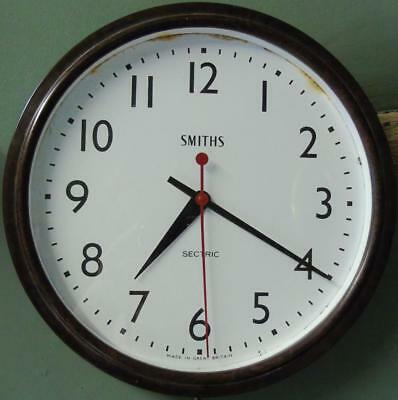 """Vintage Bakelite Smiths Sectric Large School Wall Clock Good Condition 12"""" Face"""