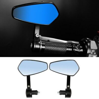 "7/8"" 22mm Universal Motorcycle Handle Bar End Rear Side View Mirrors Cafe Racer"