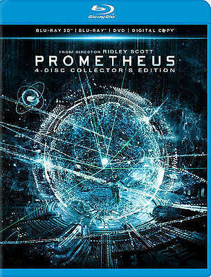 Prometheus (Blu-ray 3D / DVD, 2012, 4-Disc Set) Collectors Edition Free Shipping