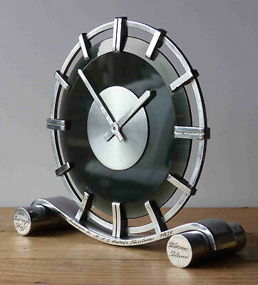 Stylish 1936 Junghans Art Deco Clock Warsaw Poland Supplied Chrome Vintage