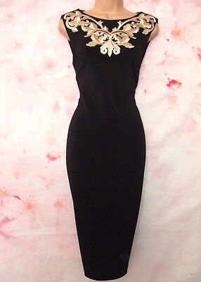 TED BAKER 'Tammara' Metallic Embroidered Midi Evening Dress 10 (Ted Size 2)