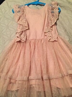 Baby Girl 12-18 NEXT Vintage Blush Pastel Pink Party  Polka Dot Tulle Lace Frill