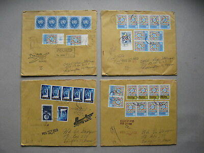 UNO UNITED NATIONS NY, 4x R-cover 1966, rich franking