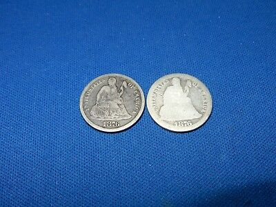 1876-CC & 1876 Seated Liberty Silver Dimes - About Good & Fine