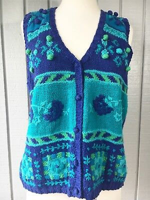Vintage Gina Peters Hand Knit Royal Blue Turquoise Green Floral Sweater Vest Lg