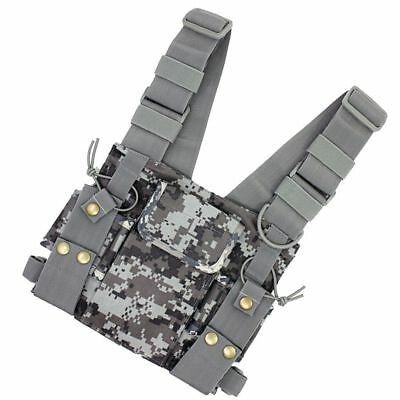 For Radio Walkie Talkie Chest Pocket Harness Canvas Bag Pack Backpack Holster