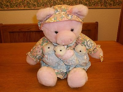 Stuffed Animal Mom Pig with 3 Baby Piglets ~ Too Cute