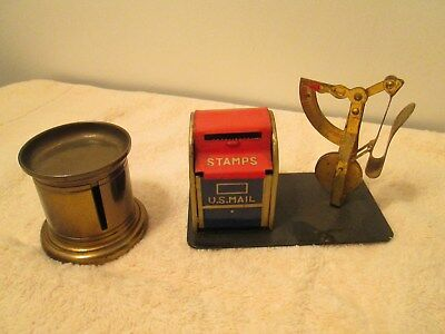2 Vintage Postal Mail Items Brass Stamp Holder And Letter Scale