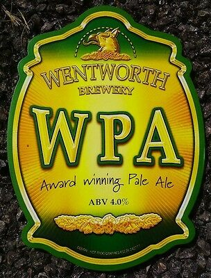 WENTWORTH brewery WPA cask ale beer badge pump clip front Yorkshire NEW & UNUSED