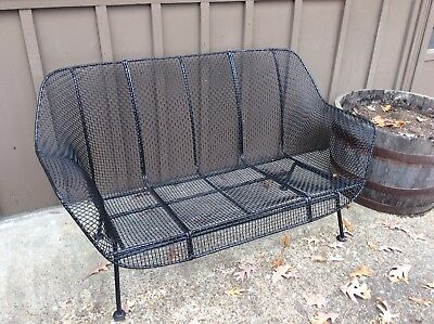 Woodard Sculptura Settee Sofa Vintage Wrought Iron Patio Metal Wire
