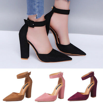 Women Ankle Buckle Strap High Heels Block Chunky Sandals Pointed Toe Plus Shoes