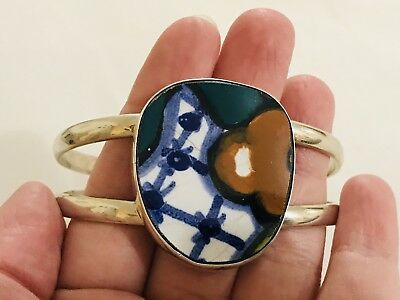 Fine Sterling Silver  And Porcelain Mata Ortiz Mexican Heavy Bangle