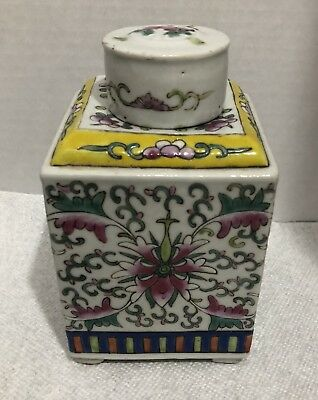 Antique Chinese Porcelain Famille Rose Decorated Tea Caddy