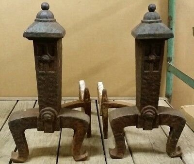 "Vintage 18"" Arts & Crafts Pagoda Andirons Fire Dogs, Cast Iron Mission Style"