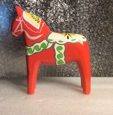 DALA Horse 6 inch-orange DALA Horse Handpainted Wood Swedish