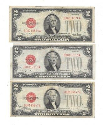 Lot Of (3) 1928-G-G-F $2 Red Seal United States Legal Tender