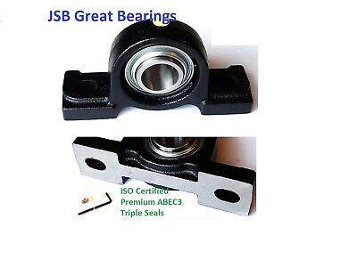 (2) Premium solid base UCP207-21 triple seal ABEC3 Pillow block bearings 1-5/16