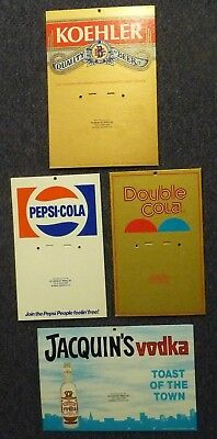 Lot of 4 1970's Salesman Samples Signs: Pepsi,Double Cola,Koehler Beer,Jacquin's