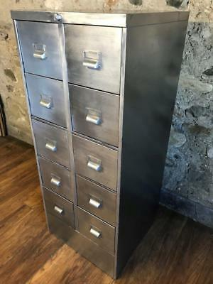 Vintage Industrial Stripped Metal 10 Drawer Metal Filing Cabinet Storage A4
