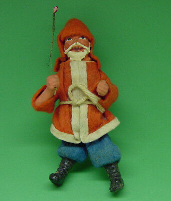 Antique Composition Santa Figure Christmas Gift Candy Container Tree Ornament