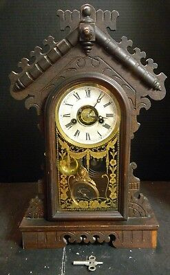 Antique EN Welch Co. Walnut Daisy Gingerbread Mantle Clock Reverse Painted Door