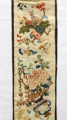 Very Finely Embroidered Antique 19Th Century Chinese Silk Sleeve Panel