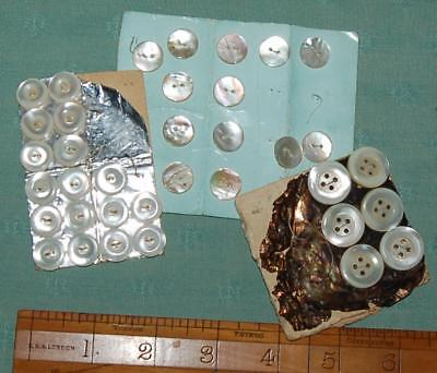 36 Antique Mother of Pearl Buttons on Cards Asstd Sizes Restoration Craft c1900