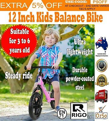 "Rigo 12"" Kids Balance Bike No Pedal Scooter Training Child Toddler Bicycle Pink"