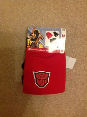 Boy's Transformers hat, scarf and gloves.