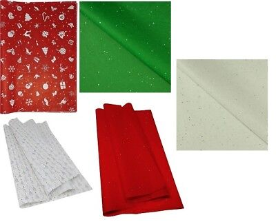 5 Sheets Acid Free Tissue Paper Christmas Print And Sparkly Glitter 50X75Cm
