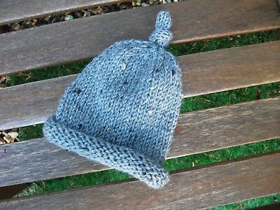 Hand Knitted Newborn Baby Grey Speckled Hat Rolled Brim & Topknot Gift