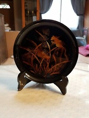 Vintage Vietnam Lacquered Plastic Display Plate w/ Wood Stand Goldfish Painted