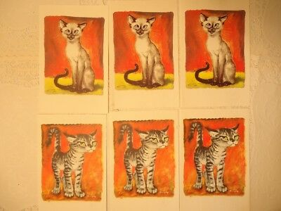 """6 Vintage Girard Goodenow """"Gig"""" Signed Greeting Cards Cats Aristicat NO RES."""