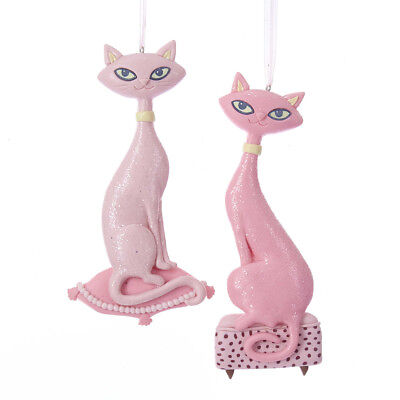 "Pink Cat Ornaments Retro Style Claydough 6.25"" Set of 2 New t2411"