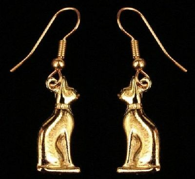 Egyptian Bastet Cat Earrings in 22kt Gold on Fine Pewter