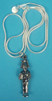 Egyptian Mummiform Osiris Pewter Amulet Pendant with Chain