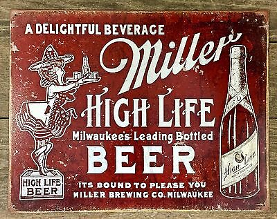 MILLER HIGH-LIFE BEER Vintage Tin Metal Sign