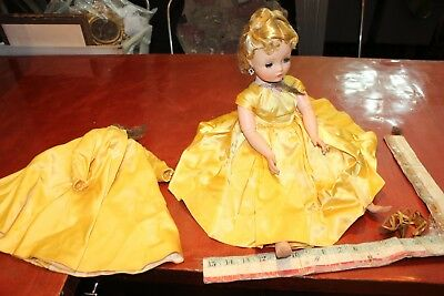 vintage doll cissy 19 inches jointed ring earring yellow satin dress gown tagged