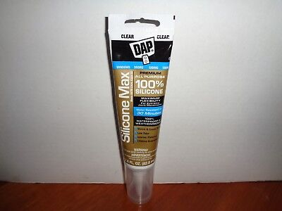 DAP PREMIUM ALL Purpose Silicone Max Waterproof Adhesive Sealant Clear 2 8  oz